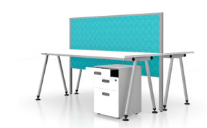 Space desk pod with OS divider and space mobile drawer unit.
