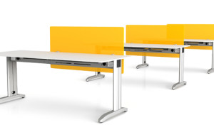 SwiftDesks with yellow perspex dividers